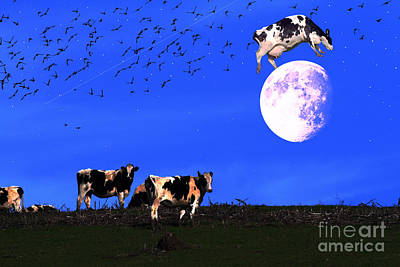 The Cow Jumped Over The Moon Poster by Wingsdomain Art and Photography