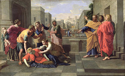 The Death Of Sapphira Poster by Nicolas Poussin