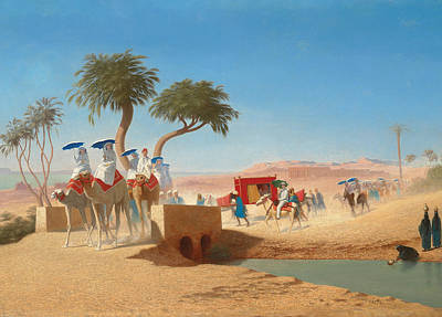 The Empress Eugenie Visiting The Pyramids Poster by Charles Theodore Frere