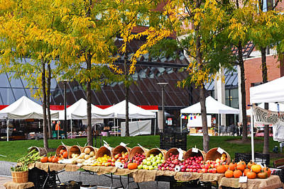 The Fall Harvest Is In Kendall Square Farmers Market Foliage Poster by Toby McGuire