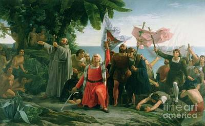 The First Landing Of Christopher Columbus Poster by Dioscoro Teofilo Puebla Tolin