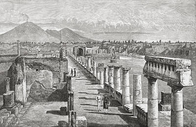 The Forum, Pompeii, Naples, Italy In Poster by Vintage Design Pics