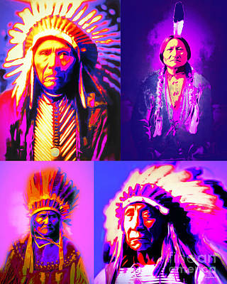 The Four Chiefs Three Horses Sitting Bull Geronimo Red Cloud Poster by Wingsdomain Art and Photography