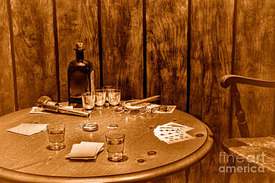The Gambling Table - Sepia Poster by Olivier Le Queinec