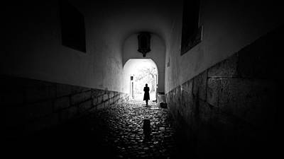 The Girl - Lisbon, Portugal - Black And White Street Photography Poster by Giuseppe Milo