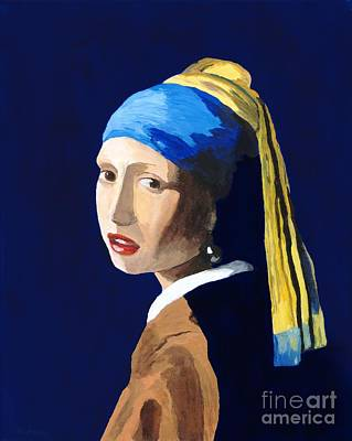 Poster featuring the painting The Girl With A Pearl Earring After Vermeer by Rodney Campbell