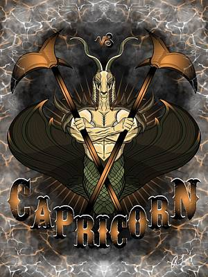 Poster featuring the drawing The Goat - Capricorn Spirit by Raphael Lopez