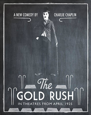 The Gold Rush Charlie Chaplin 1925 Chalk Poster by Digital Reproductions