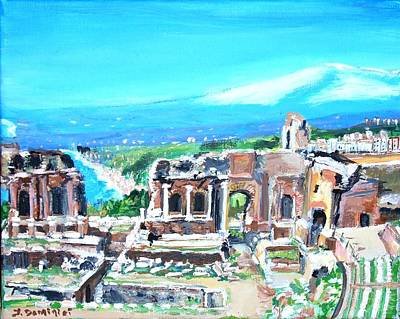 The Greek Theater At Taormina Poster by Teresa Dominici