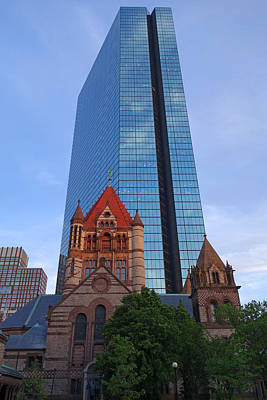 The Hancock Over The Trinity Church Boston Ma Poster by Toby McGuire