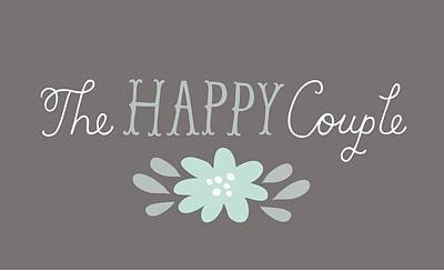 The Happy Couple Lettering With Flower Poster by Gillham Studios