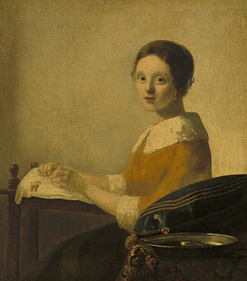 The Lacemaker Poster by Imitator Of Johannes Vermeer