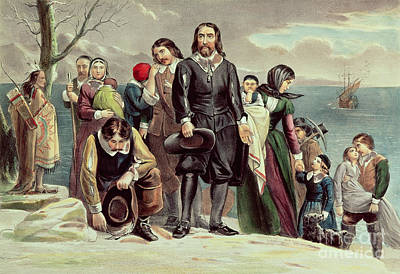 The Landing Of The Pilgrims At Plymouth Poster by Currier and Ives