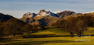 The Langdale Pikes In Winter Poster by John Collier
