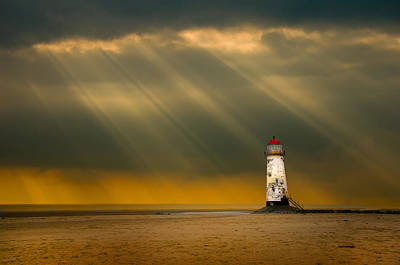 The Lighthouse As The Storm Breaks Poster by Meirion Matthias