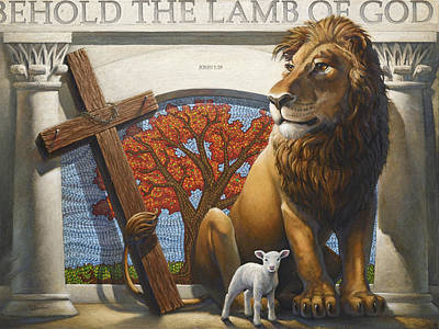 The Lion And The Lamb Poster by Larry Reinhart