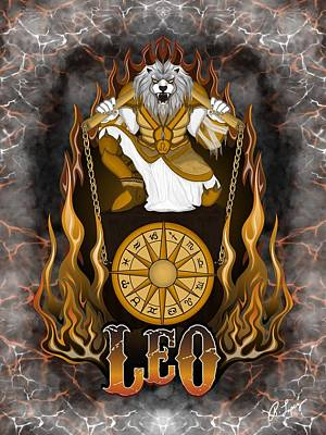 Poster featuring the drawing The Lion - Leo Spirit by Raphael Lopez