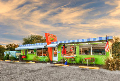 The Lucky Dog Diner At Sunset - 1 Poster by Frank J Benz