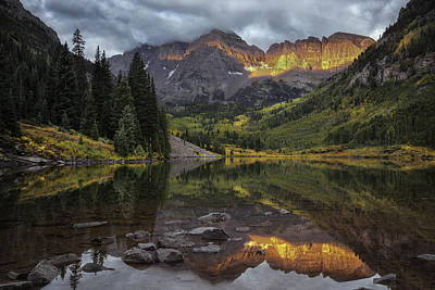 The Maroon Bells At Dawn Poster by Thomas Schoeller