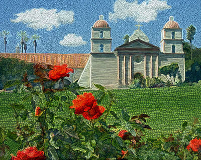 The Mission Santa Barbara Poster by Kurt Van Wagner