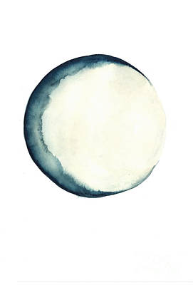 The Moon Watercolor Poster Poster by Joanna Szmerdt