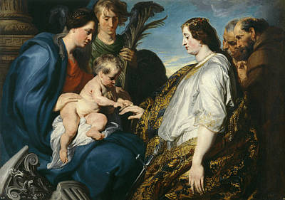 The Mystic Betrothal Of Saint Catherina Poster by Anthony van Dyck