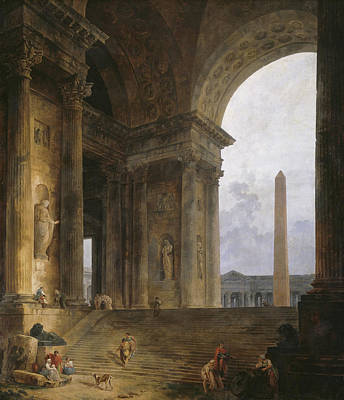 The Obelisk Poster by Hubert Robert