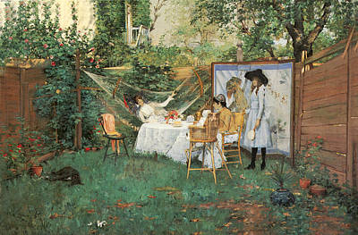 The Open Air Breakfast Poster by William Merritt Chase