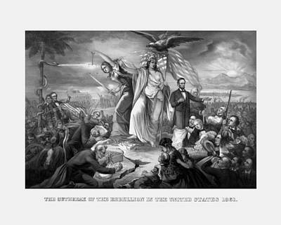 The Outbreak Of The Rebellion In The United States Poster by War Is Hell Store
