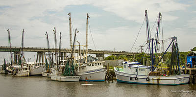 The Paddler Tybee Island Shrimp Boats Poster by Reid Callaway
