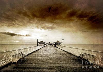 the pier at Llandudno Poster by Meirion Matthias