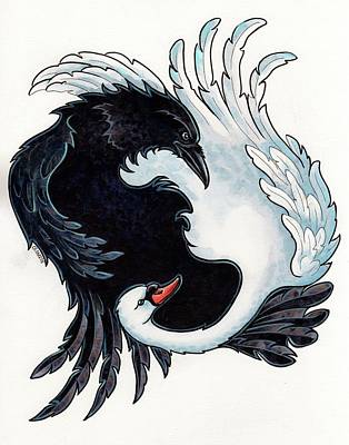 The Raven And The Swan Poster by Christine Karron