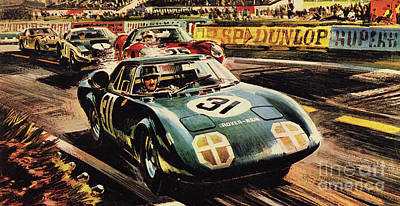 The Revolutionary Rover Brm At The Famous Le Mans Racing Track In 1963 Poster by Wilf Hardy