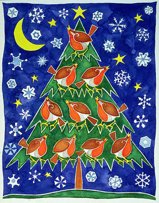 The Robins Chorus Poster by Cathy Baxter