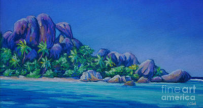 The Rocks On La Digue  Panoramic Poster by John Clark