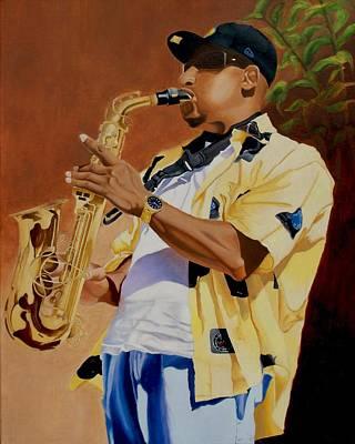 The Sax Player Poster by Jason M Silverman