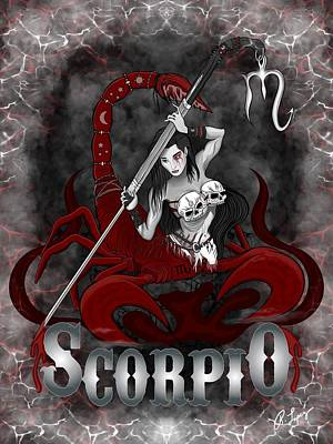 Poster featuring the drawing The Scorpion - Scorpio Spirit by Raphael Lopez