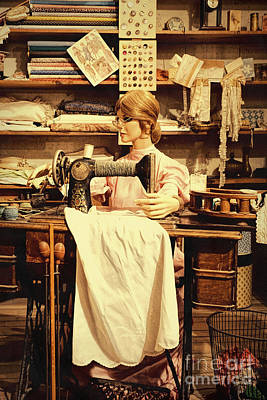 The Seamstress At Work Poster by Priscilla Burgers