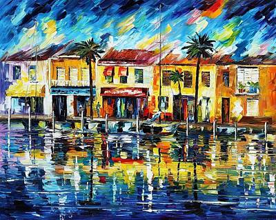 The Spirit Of Miami - Palette Knife Oil Painting On Canvas By Leonid Afremov Poster by Leonid Afremov