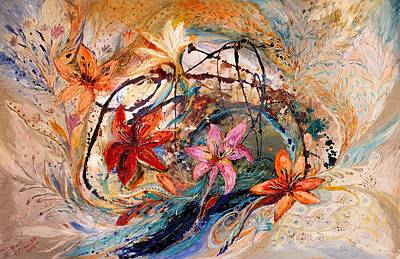 The Splash Of Life 17. Humming-bird And Exotic Flowers Poster by Elena Kotliarker