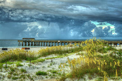 The Storm Tybee Island Pier Sea Oats Art Poster by Reid Callaway