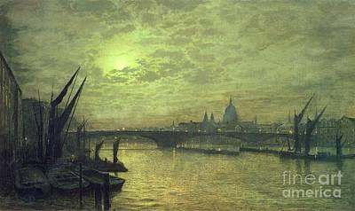 The Thames By Moonlight With Southwark Bridge Poster by John Atkinson Grimshaw