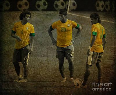 The Three Kings Marcelo Hulk Neymar Os Tres Reis  Poster by Lee Dos Santos