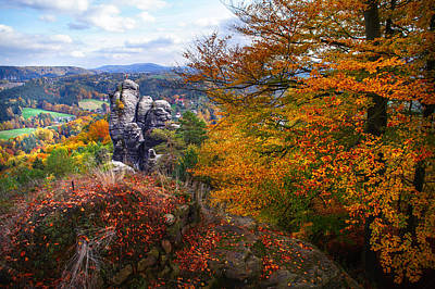 The Touch Of Gold. Saxon Switzerland Poster by Jenny Rainbow