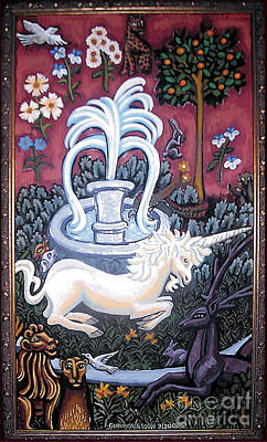 The Unicorn And Garden Poster by Genevieve Esson