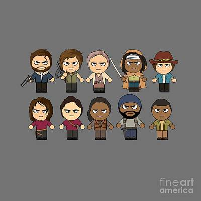 The Walking Dead - Main Characters Chibi - Amc Walking Dead - Manga Dead Poster by Paul Telling