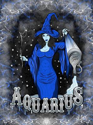 Poster featuring the drawing The Water Bearer - Aquarius Spirit by Raphael Lopez