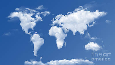 The World In The Clouds Poster by Bedros Awak
