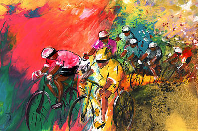 The Yellow River Of The Tour De France Poster by Miki De Goodaboom