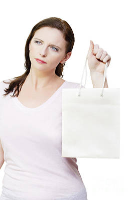 Thinking Woman With Copyspace Retail Shopping Bag Poster by Jorgo Photography - Wall Art Gallery